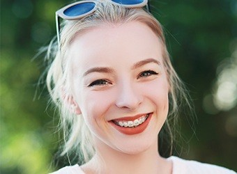blonde girl with braces